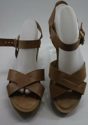 f2daf6fdeeec Nine West Women s Payal Brown Leather Strappy Wedge Heel Sandals Size 10 M  Shoes