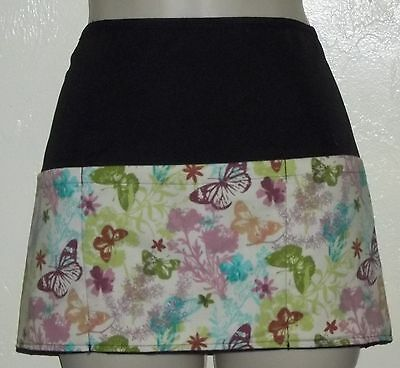 Black reversible BUTTERFLIES & FLOWERS waitress server waist apron 3 pockets