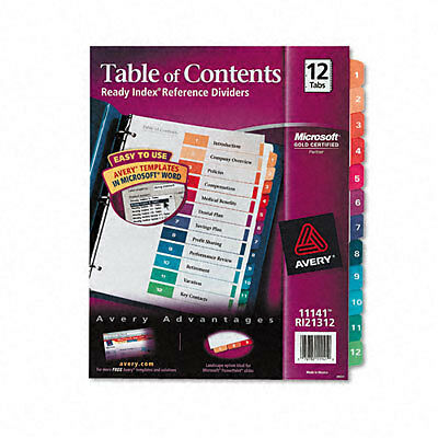 Avery® Ready Index® Table of Contents Dividers for Laser/Inkjet Printers, 12-Tab