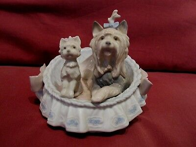 Stunning Retired Lladro Figurine Our Cozy Home 6469 Yorkshire Terrier Dog