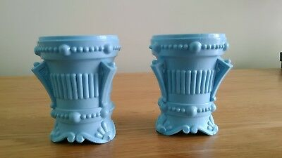 Victorian Pair of Sowerby  Pale Blue Milk Glass Toothpick Holder/Vases  ?????