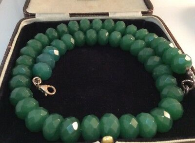 Vintage jewellery gorgeous sterling silver & faceted chrysoprase bead necklace