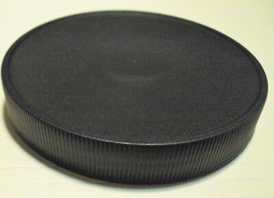 10 Pack 110 mm RIBBED LID CAP W/ PRESSURE SENSITIVE SEAL Black