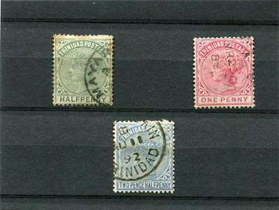TRINIDAD. 3 -- QV USED STAMPS ON STOCKCARD. 1/2d.1d.2 1/2d.