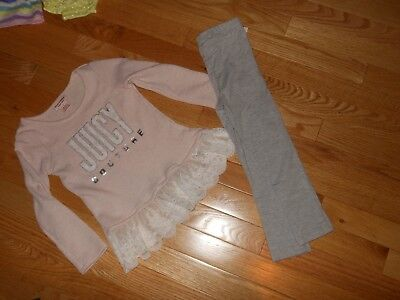 NWT - Juicy Couture 2pc pink, grey, ivory & sparkly silver outfit - 4 girls