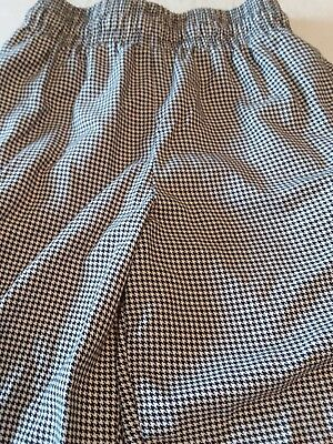 Men black white check chef cook baker pants size small pockets elastic waist