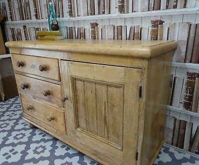 Beautiful Waxed Antique Pine Dresser Base Cupboard Sideboard