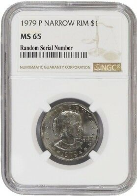 1979 P $1 Susan B Anthony Dollar Narrow Rim NGC MS65
