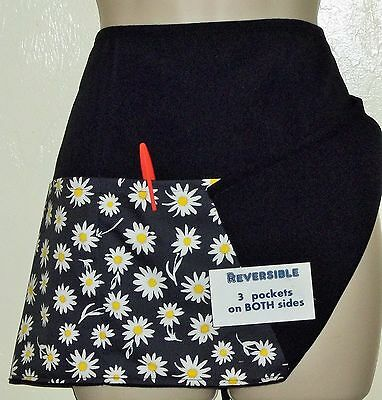 REVERSIBLE waitress waiter waist apron 3 pockets WHITE DAISIES