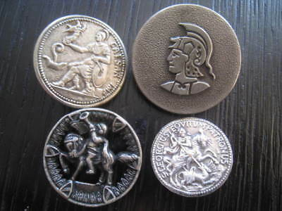 4 antique French buttons metal soldier vintage