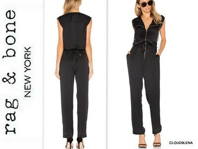 ce8b4eac66f0 NWT RAG   BONE Size L Black satin Front Zipper ALBANY Jumpsuit with pockets   550