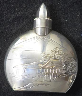 Japanese Style Sterling (950) Silver Perfume Bottle with Lake Scene Engraving