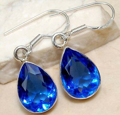 10CT Blue Sapphire 925 Solid Sterling Silver Earrings Jewelry