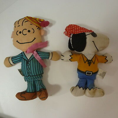 Vintage Feature Syndicate Pirate Snoopy & Linus Plush Dolls Made in Hong Kong