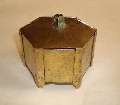 Arts and Crafts Guild Hammered Brass Hexagonal Trinket Jewellery Box