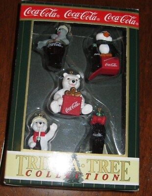 Coca Cola Bear mini tree ornaments with seal and penguin.