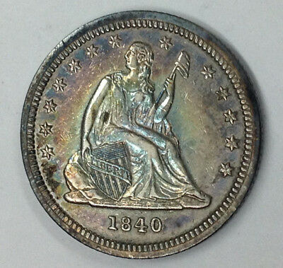 1840 Liberty Seated Quarter - High Grade - Rainbow Toned Both Sides - Awesome!
