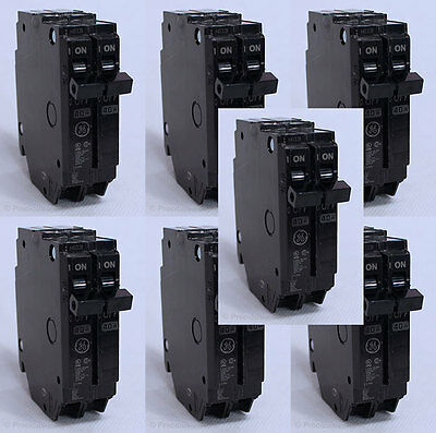 Lot of 7 GE Space Saver Thin DOUBLE POLE 40 AMPS CIRCUIT BREAKERS THQP240 NEW!