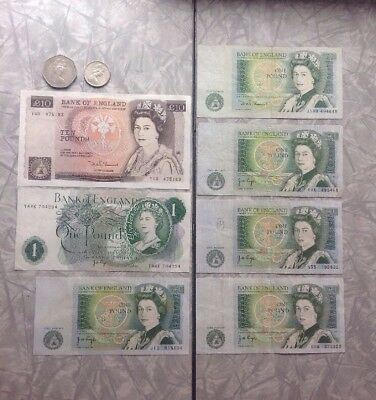Lot Paper Money Note Coins Bank Of England 1 10 Pound $17 Pound Face BG9