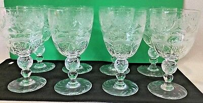 """8 Vintage Webb Thomas RARE Jewel Crystal Wheel Etched Glass 6 3/8"""" Water Goblets"""