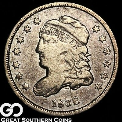1836 Capped Bust Half Dime, Choice VF Early Silver Type, Scarce