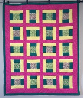 NEW Baby Quilt Lap Throw Quilt Handmade Pink Green Yellow Cotton Roses Flowers