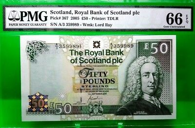 Money Scotland 50 Pound Nd 2005 Royal Bank Of Scotland Pmg Gem Unc Pick #367