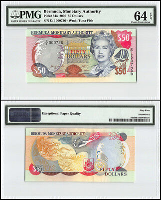 Bermuda 50 Dollars, 2000, P-54a, Queen Elizabeth II, Low Serial # 000726, PMG 64