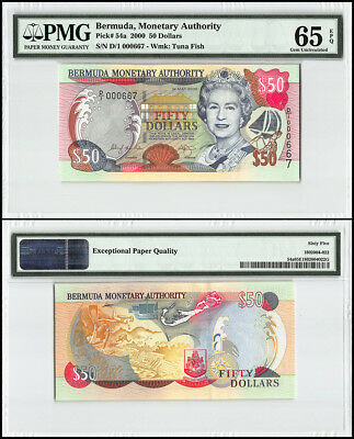 Bermuda 50 Dollars, 2000, P-54a, Queen Elizabeth II, Low Serial # 000667, PMG 65