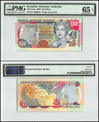 Bermuda 50 Dollars, 2000, P-54a, Queen Elizabeth II, Low Serial # 000670, PMG 65