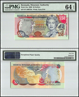 Bermuda 50 Dollars, 2000, P-54a, Queen Elizabeth II, Low Serial # 000720, PMG 64