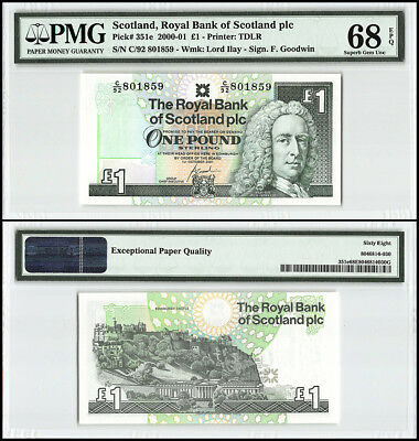 Scotland 1 Pound, 2001, P-351e, Lord Ilay, Edinburgh Castle Design, PMG 68