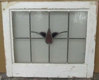"""OLD ENGLISH LEADED STAINED GLASS WINDOW Nice, Simple Floral 21"""" x 18.25"""""""