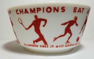"1950s Wheaties Cereal Bowl ""Champions"" Famous Athletes (Milk Glass)"