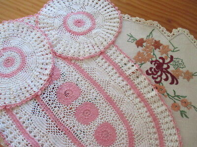 Retro Hand Embroidered 3 Doilies & 3 Piece Crocheted Duchess Set Pink/White.WOW!