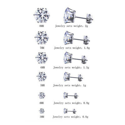 6 Pairs Surgical 316L Stainless Steel Stud Earrings Cubic Zircon Round Men Women