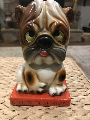 "Vintage Ceramic? Hard Plastic Dog Piggy Bank "" World's Best Boss"" Made in Japan"