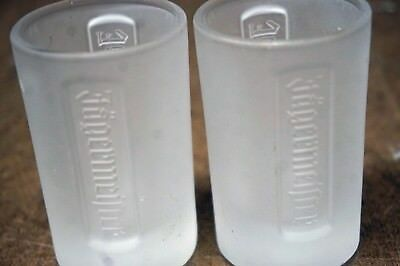 Two Jagermeister Jager Frosted Glass Shot Glasses Bar Tavern Collectible Shooter