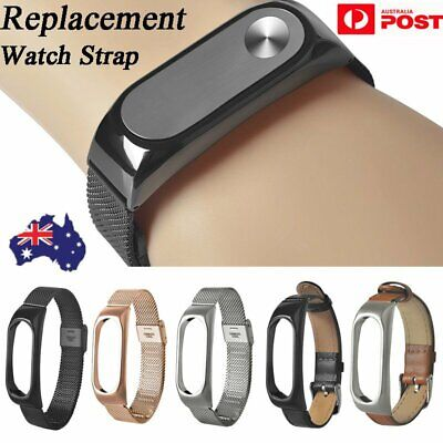 AU Stainless Steel Leather Strap Bracelet Replacement For Xiaomi Mi Band 2 Watch