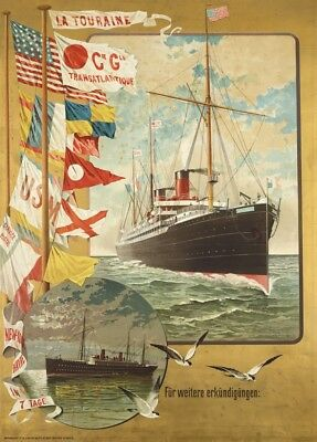 Cie Gle TRANSATLANTIQUE SS LA TOURAINE French Travel Poster. 250gsm. 1920's