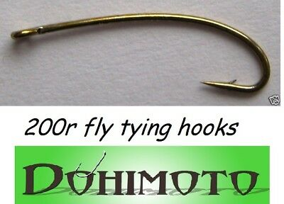 50) 200R multi-use 3x long natural bend, dohimoto fly hooks #16, 12, 10, 8, 6, 4