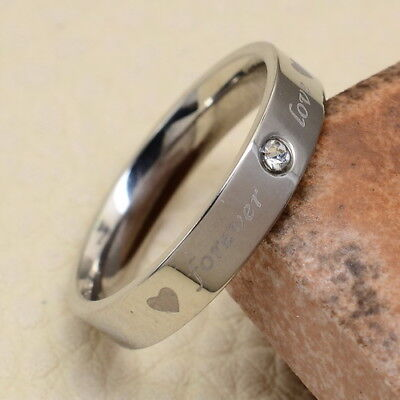 """Excellent! Carved """"forever Love"""" Stainless Steel Cz Ring Sz 7"""