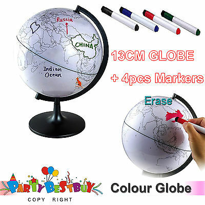 13cm Colour Globe Map + 4x Chalk Markers + Swivel Stand Geography  Educational