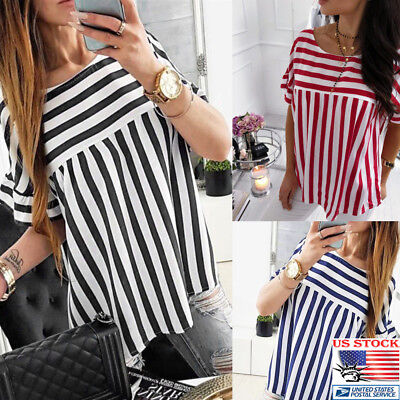Womens Striped Short Sleeve Casual Loose Summer Beach Round Neck Plus Top Blouse