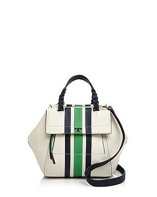 bdfa6aba3f5 Tory Burch Half Moon Stripe Small Satchel Leather Bag in Ivory Green NEW