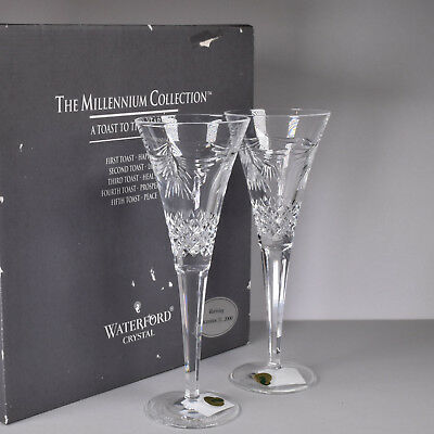 Waterford Ireland Crystal Toasting Champagne Flutes Millennium Celebration Peace
