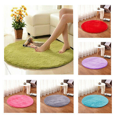 Round Fluffy Rugs Anti-Skid Shaggy Area Rug Room Bedroom Carpet Round Floor Mats