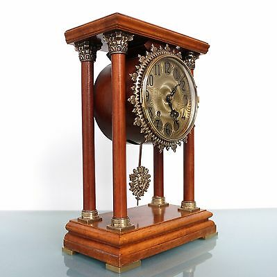 WARMINK Mantel CLOCK Dutch Vintage 12.4 INCH! PILLAR TOP 2 Bell Chime HIGH GLOSS