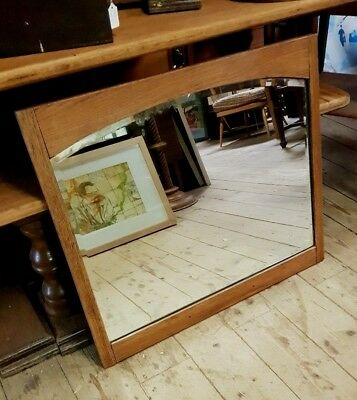 Antique Arts and Crafts Golden Oak Mirror Arch Top Bevel Plate 30 inch