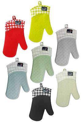 Zeal By CKS Single Oven Glove Waterproof GINGHAM Check Steam Stop Silicone